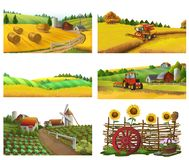 Granja, paisaje rural, sistema del vector libre illustration