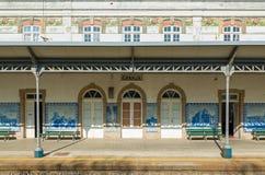 Granja Railway Station Porto Portugal. Platform with painted azulejos tile panels at Granja railway station, near Porto, Portugal Stock Photos