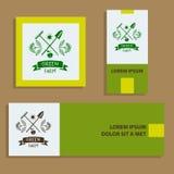 Granja verde Logotipo del bosquejo para la agricultura, horticultura Wi de la rama Imagenes de archivo