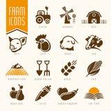 Granja y sistema del icono de la carnicería Foto de archivo libre de regalías