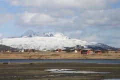 Granjas de Leknes en Lofoten Foto de archivo