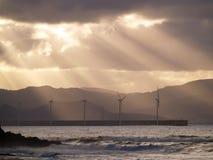 Granjas de viento en Azkorri Foto de archivo libre de regalías