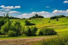 Granjas rurales con los campos en la estación de primavera fotografía de archivo