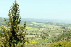 Granjas rurales en el campo toscano foto de archivo libre de regalías