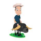 Granjero asiático Buffalo Cute Character Fotografía de archivo libre de regalías