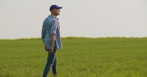 Granjero cansado Stretching While Walking en granja almacen de video