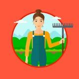Granjero con el rastrillo en el campo de la col libre illustration