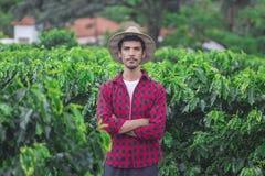 Granjero con el sombrero en el campo de la plantación de café Imagenes de archivo