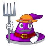 Granjero con el sombrero en la mascota de la forma ilustración del vector