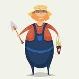 Granjero con la pala y la planta Personaje de dibujos animados divertido Imagen de archivo libre de regalías