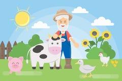 Granjero con los animales stock de ilustración