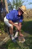 Granjero con su conejo Imágenes de archivo libres de regalías