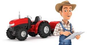 granjero 3d con la libreta delante del tractor Fotografía de archivo