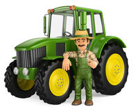 granjero 3D que se inclina en el tractor con el pulgar para arriba Fotografía de archivo libre de regalías