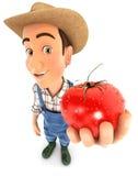 granjero 3d que sostiene un tomate fresco Imágenes de archivo libres de regalías