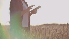 Granjero de la mujer joven que trabaja con la tableta en campo en la puesta del sol El due?o de un concepto de la peque?a empresa almacen de video