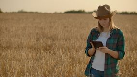 Granjero de la mujer joven que trabaja con la tableta en campo en la puesta del sol El due?o de un concepto de la peque?a empresa almacen de metraje de vídeo