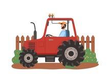 Granjero Driving Tractor en el campo, cultivando la estación ilustración del vector