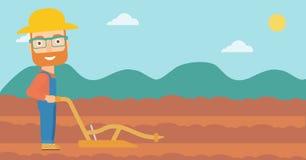 Granjero en el campo con el arado stock de ilustración