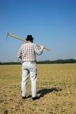 Granjero en el campo con las plántulas  Fotografía de archivo libre de regalías