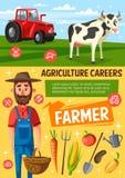 Granjero en granja, vaca y el tractor libre illustration