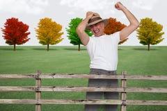 Granjero feliz en la caída Fotografía de archivo libre de regalías