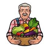 Granjero feliz que sostiene una cesta de mimbre llena de verduras frescas Granja, agricultura, concepto de la horticultura Vector Foto de archivo libre de regalías
