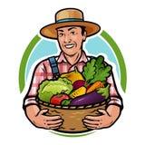 Granjero feliz que sostiene una cesta llena de verduras frescas Granja, agricultura, concepto de la horticultura Ilustración del  Foto de archivo