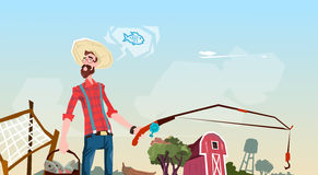 Granjero Fishing Farmland Background ilustración del vector