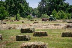 Granjero Haying Field Fotografía de archivo libre de regalías