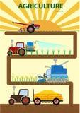 Granjero infographic vegettable Driving Agricultural Machinery de la agricultura stock de ilustración
