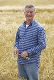 Granjero Inspecting Wheat Crop Imagenes de archivo
