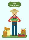Granjero local del mercado que sostiene la caja ilustración del vector