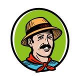 Granjero, logotipo del jardinero Producto agrícola, cultivo, el cultivar un huerto, horticultura, etiqueta de la agricultura o ic Fotografía de archivo libre de regalías