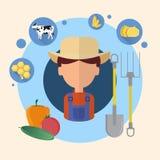 Granjero Man Agriculture Icon Stock de ilustración