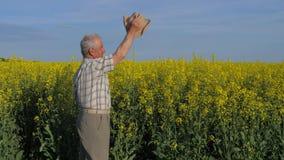 Granjero mayor y blanco-cabelludo en un campo, agitando sus brazos y sombrero en el saludo almacen de metraje de vídeo