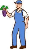 Granjero orgánico Boy Grapes Standing retro Fotos de archivo