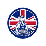 Granjero orgánico de sexo femenino británico Union Jack Flag Icon stock de ilustración