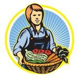 Granjero orgánico Farm Produce Harvest retro stock de ilustración