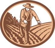 Granjero orgánico Sowing Seed Woodcut retro Imagenes de archivo