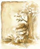 Granjero perezoso en otoño libre illustration