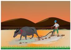 Granjero Plowing ilustración del vector
