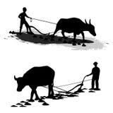Granjero Plowing stock de ilustración