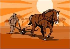 Granjero que ara los campos libre illustration