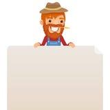 Granjero que mira el cartel en blanco en el top Foto de archivo libre de regalías