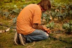 Granjero que pone la irrigación foto de archivo libre de regalías