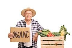 Granjero que presenta con un cajón de verduras orgánicas Fotografía de archivo libre de regalías