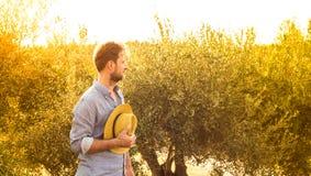 Granjero que se coloca delante de una arboleda verde oliva - agricultura Imágenes de archivo libres de regalías