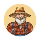Granjero sonriente en sombrero de paja Ejemplo del vector del jardinero o del apicultor Imagen de archivo libre de regalías