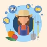 Granjero Woman Agriculture Icon Stock de ilustración